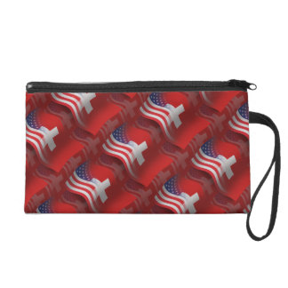 Swiss-American Waving Flag Wristlet Purse