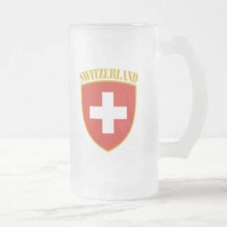Swiss Arms Frosted Glass Beer Mug