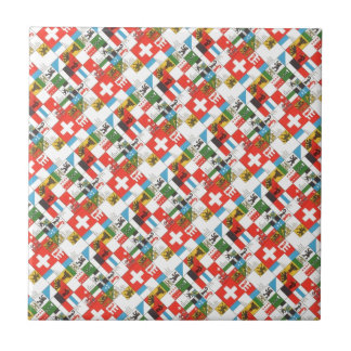 Swiss cantonial flags tile
