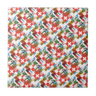 Swiss cantonial flags ceramic tiles