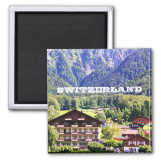 Swiss chalet 2 inch square magnet