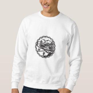 Swiss Chalet Alpine Hiker Decoupage Sweatshirt