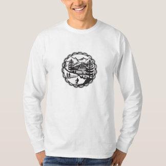 Swiss Chalet Alpine Hiker Decoupage T-Shirt