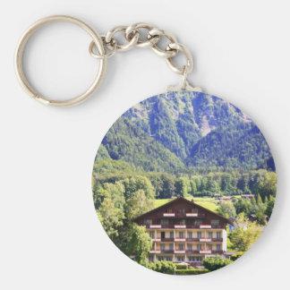 Swiss chalet basic round button keychain