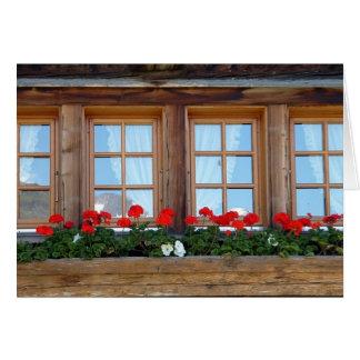 Swiss Chalet Windows Greetings Card