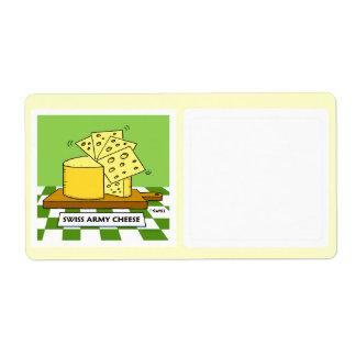 Swiss Cheese Cartoon Humorous Food Storage Label