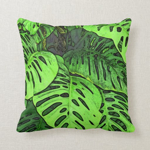 SWISS CHEESE PLANT/BIG GREEN LEAVES WITH CUT-OUT THROW PILLOW Zazzle