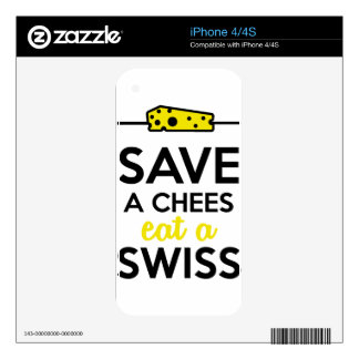 Swiss cheese - Save a Chees eat a Swiss iPhone 4 Skin
