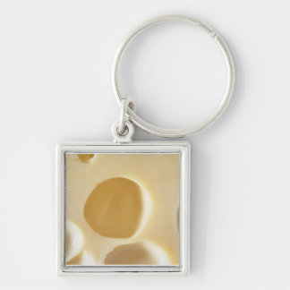 SWISS CHEESE SURFACE TEXTURE CREAM  CIRCLES HOLES KEYCHAIN