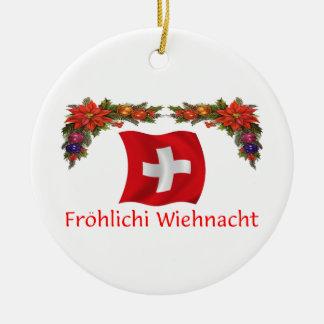 Swiss Christmas Ceramic Ornament