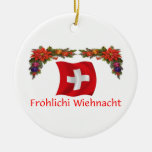 Swiss Christmas Double-Sided Ceramic Round Christmas Ornament