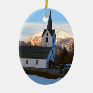 Swiss church in the mountains christmas ornaments