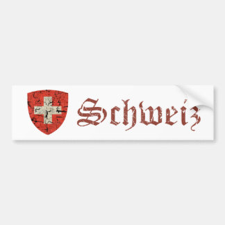 Swiss Coat of Arms, Distressed Bumper Sticker