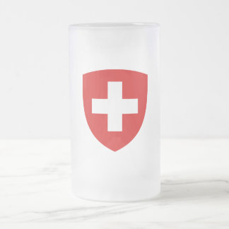Swiss Coat of Arms - Switzerland Souvenir Frosted Glass Beer Mug