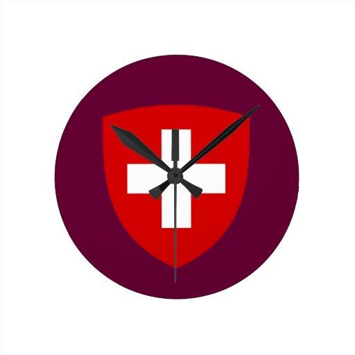 Swiss Coat of Arms - Switzerland Souvenir Round Clock