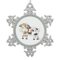 Swiss cow Pewter snowflake ornament