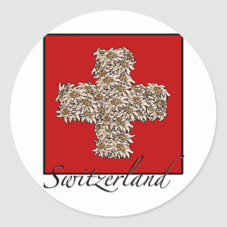 Swiss Edelweiss Cross Classic Round Sticker