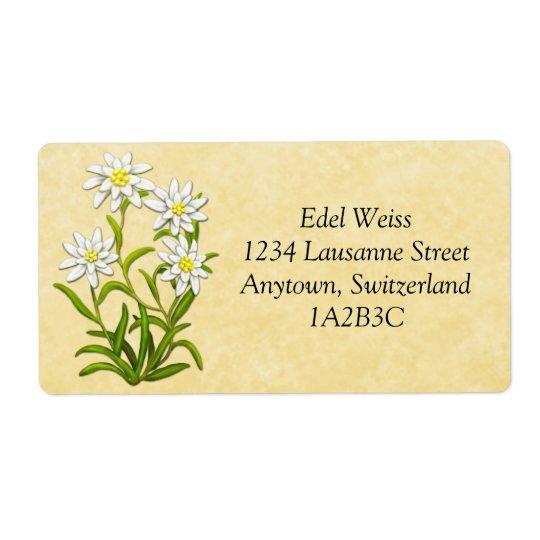 Swiss Edelweiss Flowers Customizable Label