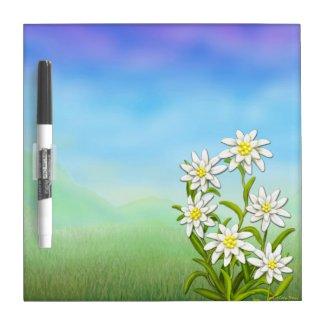 Swiss Edelweiss Flowers Dry Erase Board