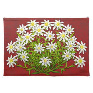 Swiss Edelweiss Mountain Flowers Placemats