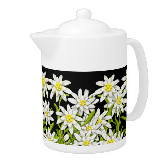 Swiss Edelweiss Mountain Flowers Teapot