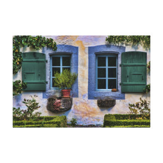 Swiss Farmhouse Windows - European Countryside Stretched Canvas Prints
