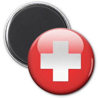 Swiss Flag 2.0 2 Inch Round Magnet