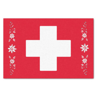 "Swiss flag and edelweiss 10"" x 15"" tissue paper"