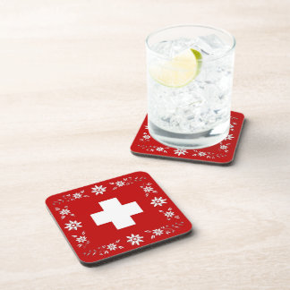 Swiss flag and edelweiss beverage coaster