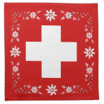 Swiss flag and edelweiss cloth napkin