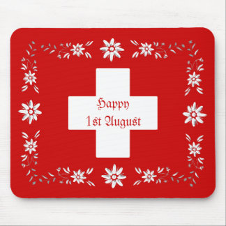 Swiss flag and edelweiss mouse pad