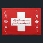 """Swiss flag and edelweiss placemat<br><div class=""""desc"""">For that special Swiss cheese fondue or raclette meal party.  A &#39;raclette&#39; is melted cheese with jacket potatoes,  various salads and pickles.  Delicious served with a Swiss white wine...  and very warming!</div>"""
