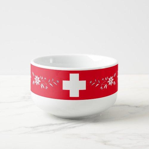Swiss flag and edelweiss soup mug