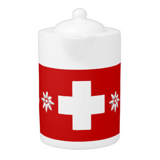 Swiss flag and edelweiss teapot