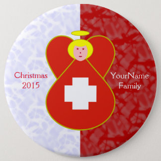 Swiss Flag Angel Blonde Red White Pinback Button
