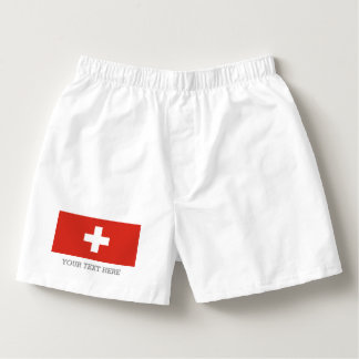 Swiss flag boxer shorts underwear for men