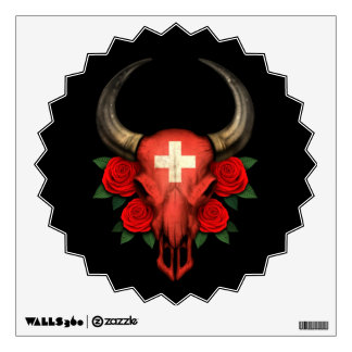 Swiss Flag Bull Skull with Red Roses Wall Sticker