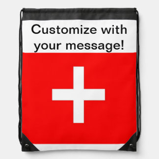Swiss Flag Drawstring Bag