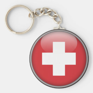 Swiss Flag - Flag of Switzerland Basic Round Button Keychain