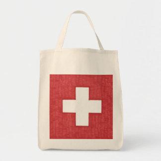 Swiss flag grocery bag