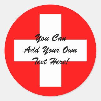 Swiss Flag I Love Switzerland Red and White Classic Round Sticker