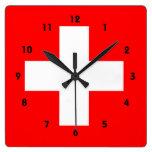 Swiss Flag I Love Switzerland Red and White Square Wallclocks