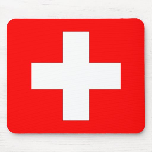 Swiss Flag I Love Switzerland Red and White Mouse Pads
