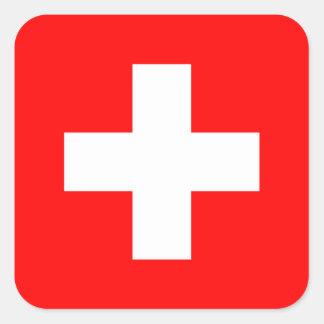 Swiss Flag I Love Switzerland Red and White Square Sticker