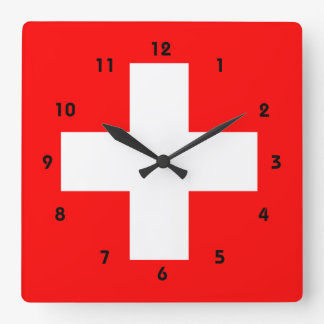 Swiss Flag I Love Switzerland Red and White Square Wall Clock