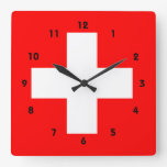 Swiss Flag I Love Switzerland Red and White Square Wall Clock