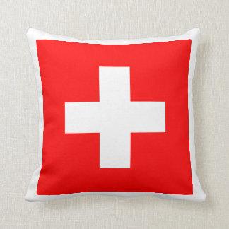 Swiss Flag I Love Switzerland Red and White Throw Pillow