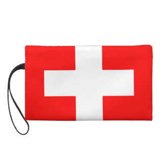 Swiss Flag I Love Switzerland Red and White Wristlet