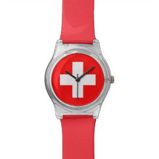 Swiss Flag - I Love Switzerland Wristwatch