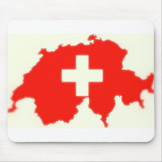 Swiss flag map mouse pad